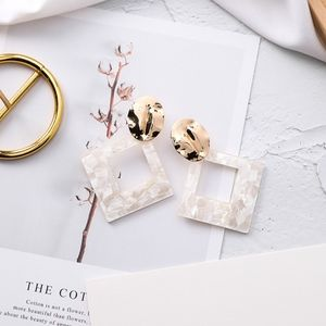 Gold & White Geometric Earrings